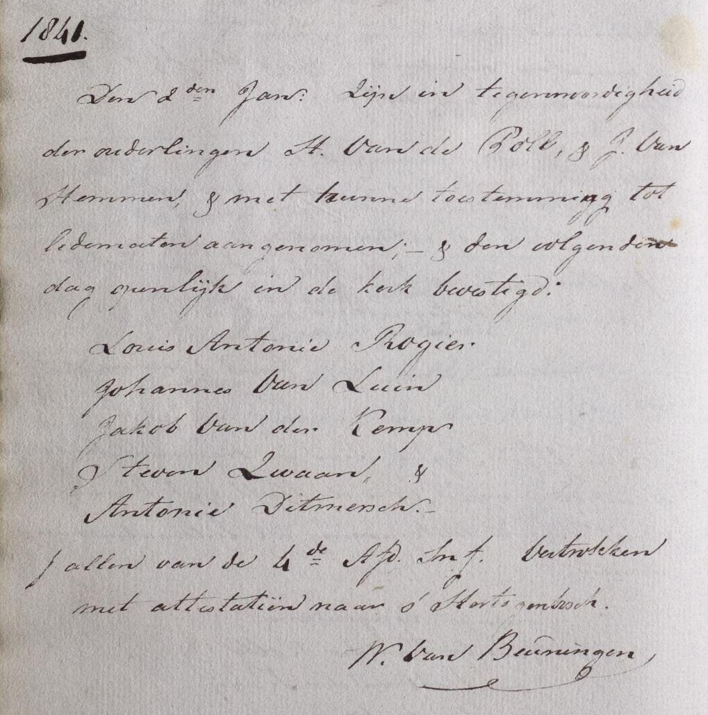 Inschrijving lidmatenregister Rossum